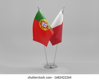 Malta - Portugal Cooperation Flags, White Background - 3D Render