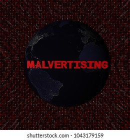 Malvertising text with earth by night and red hex code 3d illustration - elements of this image furnished by NASA