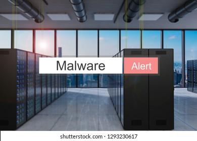 malware alert in red search bar modern server room skyline view, 3D Illustration