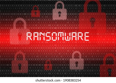 Malware, Ransomware and virus infected alert on red screen background. concept of data-encryption and virus infection and internet security