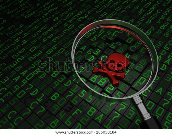 Malware, virus, ransomware, Red Skull laying on hex data.