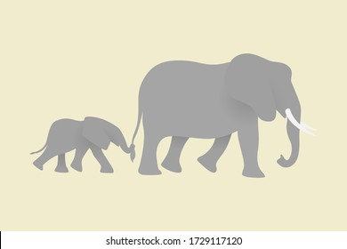 Mama elephant walking with baby together on beige background. Happy Mothers day concept. Family of grey elephants. Save wildlife
