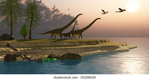 Mamenchisaurus Dinosaur Morning - Mamenchisaurus dinosaurs walk to a lake for a morning drink as Microraptors fly overhead.