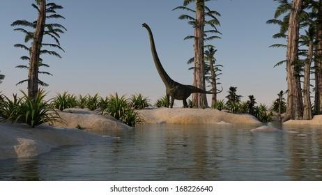 mamenchisaurus near the lake