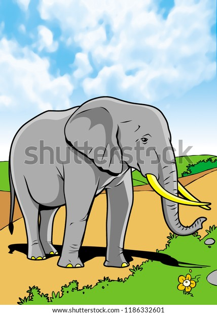 Mammals Animal Illustration with smooth graphics and full coloring. So that the illustration of this Elephant animals will be interesting when used as an image of supporting material, or to be seen.