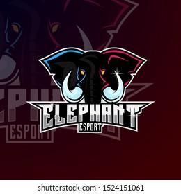 Mammoth Elephant Mascot Logo Design For Sport and Esport Gaming. Mammoth Elephant Mascot Esport Team Logo.
