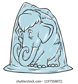 Mammoth permafrost ice Age cartoon illustration isolated image