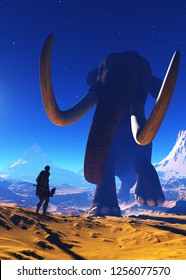 Mammoth and primitive man against a starry sky.3d render