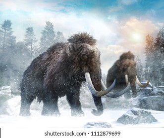 Mammoth scene 3D illustration