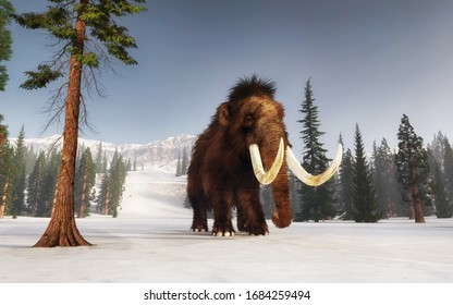 Mammoth walking on snow covered hills. Mountain environment . This is a 3d render illustration.