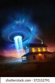 A man abducted near his isolated home by a UFO. 3D illustration.