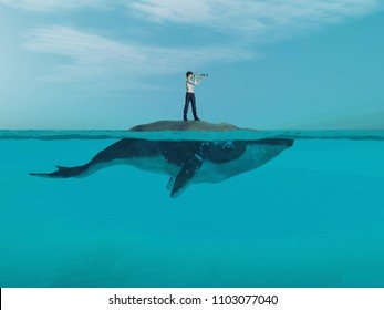 Man  above a huge whale looking for the shoreline. This is a 3d render illustration