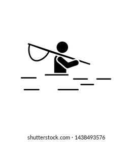 Man adventure fishing river leisure icon. Element of pictogram adventure illustration