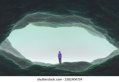 Man alone in cave, lonely, depression, sad, surreal painting illustration, artwork