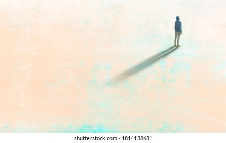 Man alone with the light, painting illustration, surreal art, lonely solitude and hope concept, artwork