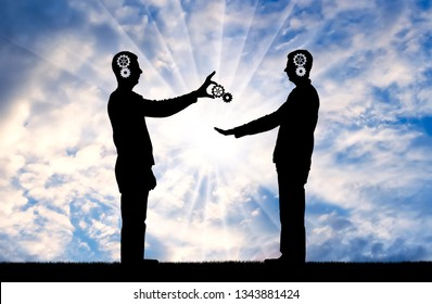 Man altruist gives a part of yourself to another person. Concept of altruism