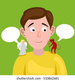 Man with angel and devil on his shoulder. Colorful cartoon hand drawn raster illustration