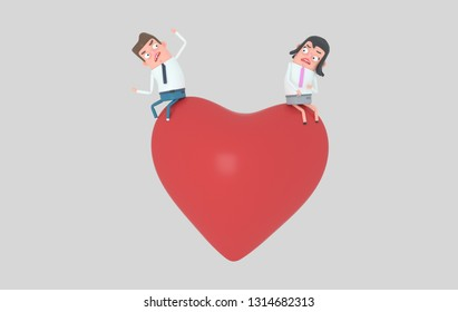 Man arguing with woman in a big heart. Isolated. 3d illustration