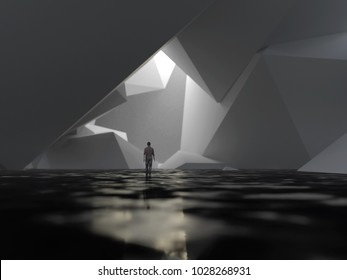 man in artificial cave, 3d illustration