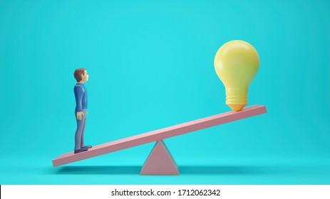 Man balance ideas. Light bulb idea concept. 3D rendering