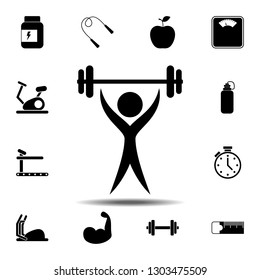 The man with barbell, rod, weight, crossbar icon. Simple glyph illustration element of gym icons set for UI and UX, website or mobile application