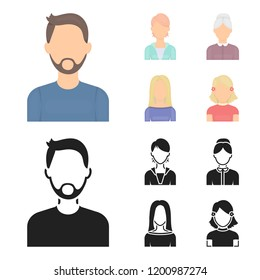 A man with a beard and mustache, a red-haired girl, an old woman, a blonde.Avatar set collection icons in cartoon,black style bitmap symbol stock illustration web.