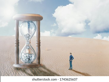 man before hourglass, in the desert, watching time run out. End of time concept, doomsday and fulfillment of biblical prophecies. 3D rendering