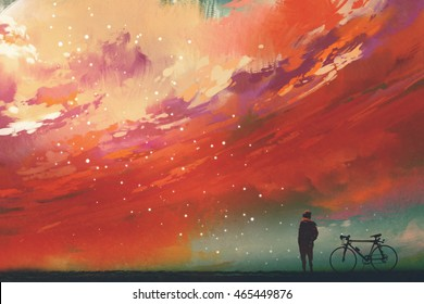 man with bicycle standing against red clouds in the sky,illustration,digital painting