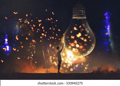 man and big bulb with glowing butterflies inside,illustration painting