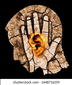 Man with big red cracked ear and head, symbolizing tinnitus and ear problems  Male head stylized profile. Photomontage with dry cracked earth. Concept symbolizing tinnitus, depression.