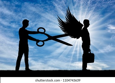 A man with big scissors in his hands intends to cut off the wings of the man in front of him. The concept of betrayal and envy in relation to successful people