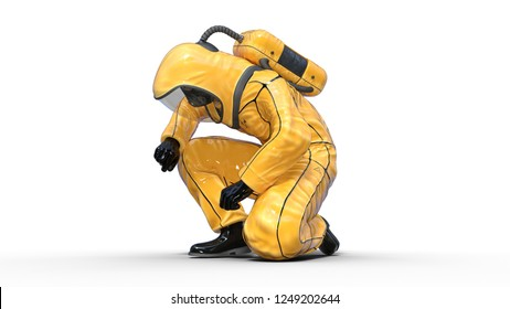 Man in biohazard protective outfit kneeling, human with gas mask dressed in hazmat suit for toxic and chemicals protection, 3D rendering