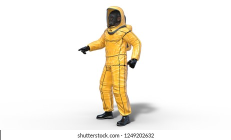 Man in biohazard protective outfit pointing, human with gas mask dressed in hazmat suit for toxic and chemicals protection, 3D rendering