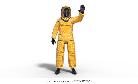 Man in biohazard protective outfit waving, human with gas mask dressed in hazmat suit for toxic and chemicals protection, 3D rendering