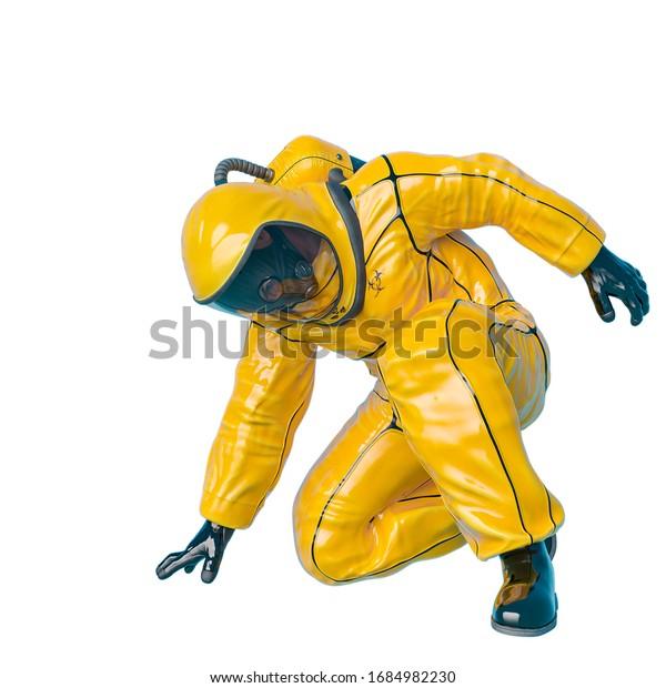 man in a biohazard suit, 3d illustration