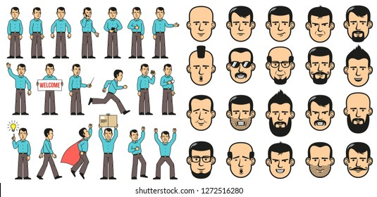 Man in the blue shirt has different poses and faces. Cartoon style.