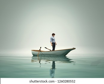The man is in a boat and admire the lake in the fog. This is a 3d render illustration