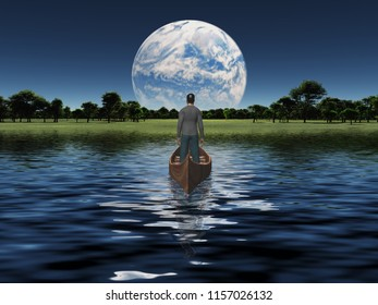 Man in a boat floats toward green horizon. Planet rise over horizon. 3D rendering
