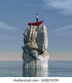 Man in a boat stuck on a big rock in the middle of the ocean. This is a 3d render illustration