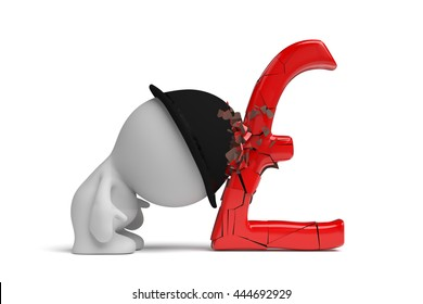 man with bowler hat breaks a huge red pound sign with his head (3d illustration)