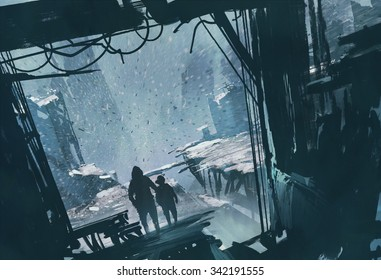 man and boy standing looking out at ruined city with snow storm,illustration painting