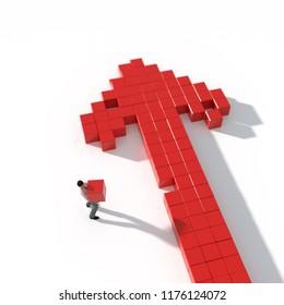 man builds an arrow of cubes, , 3d illustration