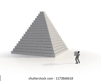 man builds a pyramid of cubes, 3d illustration