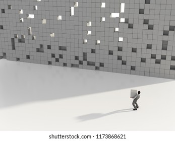 man builds a wall of cubes, 3d illustration