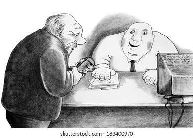 Man and bureaucrat. Pencil drawing.