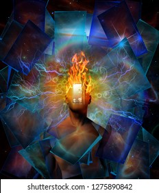 Man with burning head in cosmic space. 3D rendering