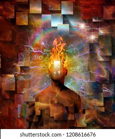 Man with burning mind and open door instead of face in cosmic space. 3D rendering