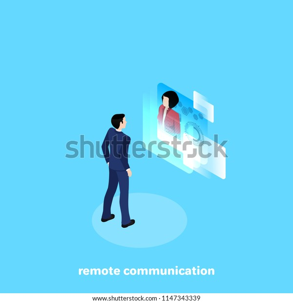 a man in a business suit communicates remotely with his colleague through a high-tech screen, an isomeric image