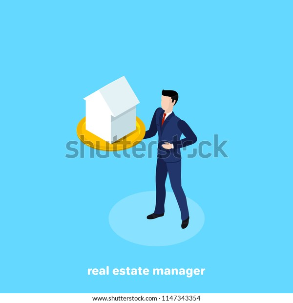 a man in a business suit holds a tray on which is the house, an isometric image
