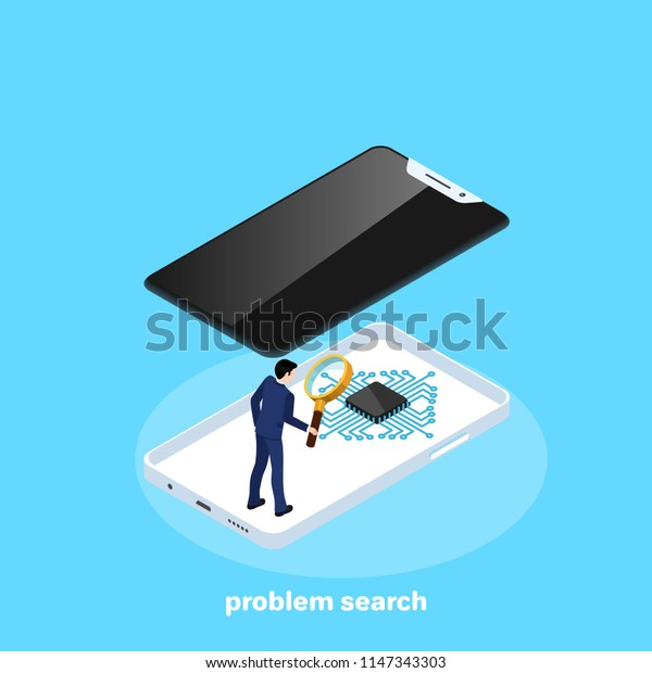 man in a business suit with a magnifier inside the smartphone, isometric image